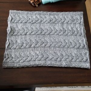 Gray wool blend cowl infinity scarf